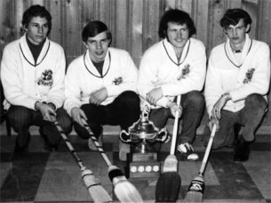"Slogans like ""hurry hard!"" helped us win the big curling championship back in the day.  I am the one with the broom."
