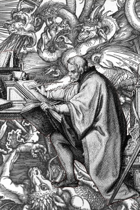 Me writing my blog.  You'd think that those swirling masses about me would be my critical thoughts, my muses, my spiritual sherpas.  But nope, they're dragons.  Run-of-the-mill dragons who eat the neighbours pets and spread pink eye.  Annoying.