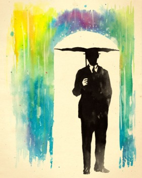 color-phobia-rainbow-rain-umbrella-man-silhouette-suit-art-inspiration-life-drawing-painting