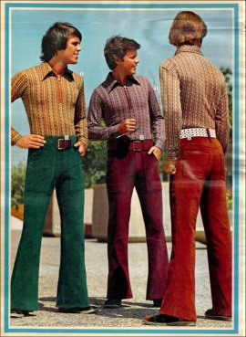 Damn that's some fine looking bottoms, gents.  Bell bottoms, that is.  Take another turn, lads, and show 'em some svelte booty-shaking corduroy  action.